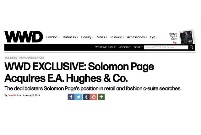 WWD EXCLUSIVE: Solomon Page Acquires E.A. Hughes & Co.